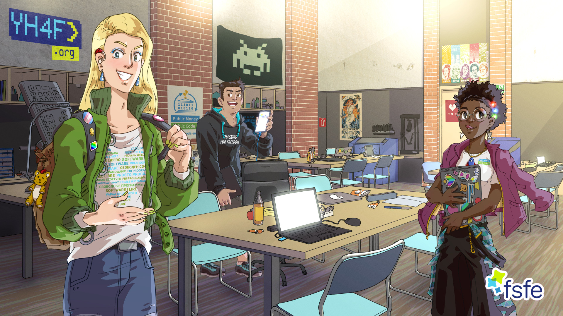 Three teenagers standing in a hackerspace