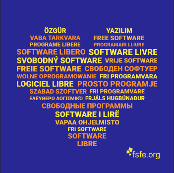 Graphic of a sticker where is written Free Software in multiple languages.