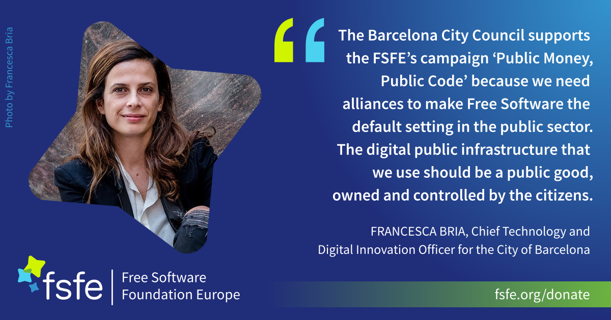 Francesca Bria supports the FSFE's campaign Public Money? Public Code!
