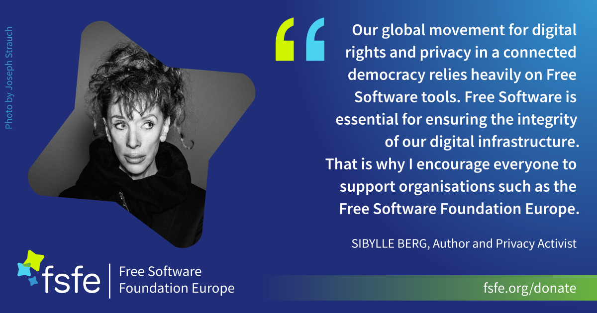 Sibylle Berg supports FSFE for privacy