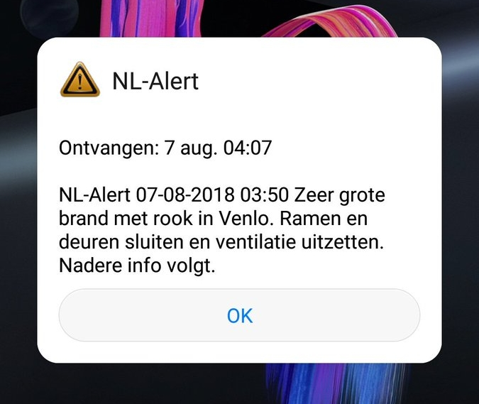 EU-Alert/NL-Alert Cell Broadcast message