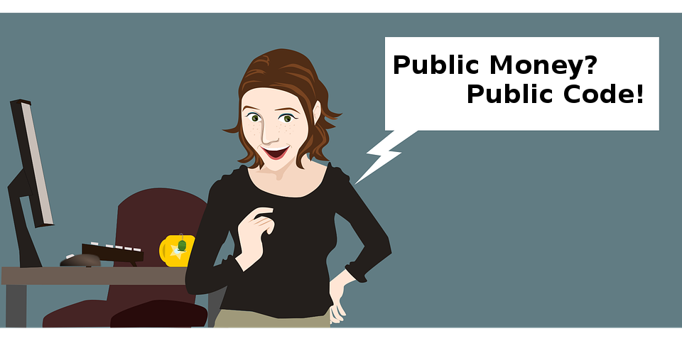 Woman in office saying Public Money Public Code