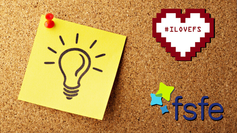 Light bulb drawn on a pinboard, representing an idea, next to fsfe and ilovefs-logo