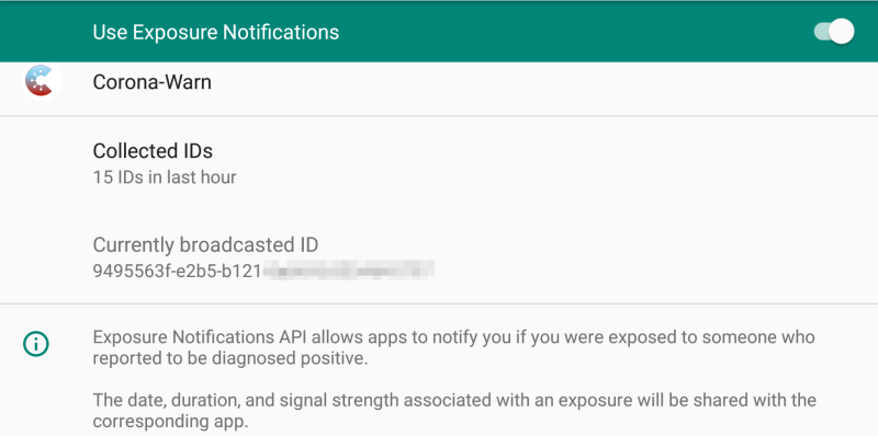 Screenshot van microG's Exposure Notification API