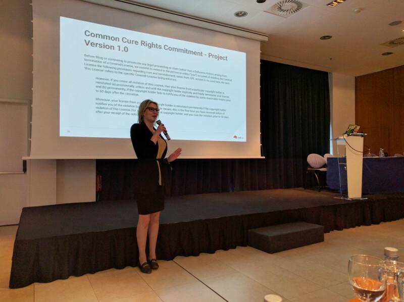 Polina Malaja, FSFE's juridisch coördinator, presenteert tijdens LLW 2018