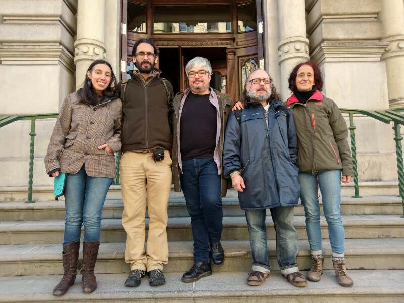 Team from Pica Pica Hacklab in front of the Asturian Parliament
