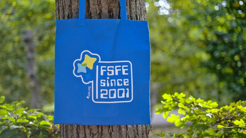 bag in front of a tree