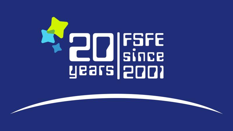 Banner con FSFE 20 years. FSFE since 2001