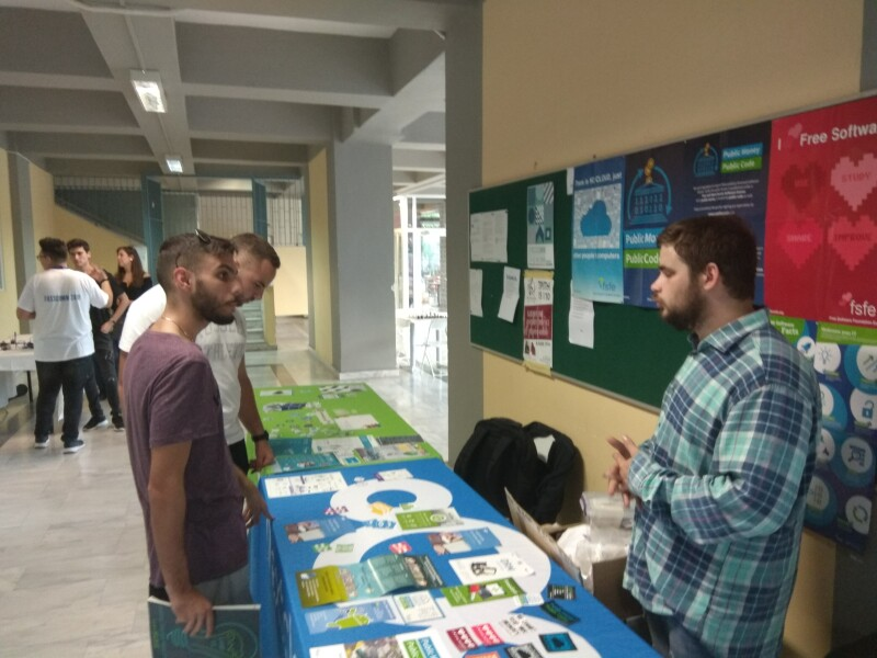 The FSFE stand at FOSSCOM in Greece