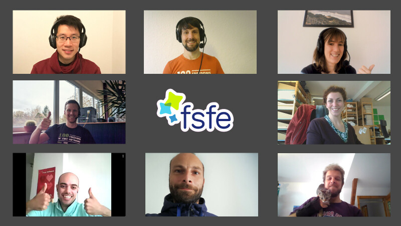 De FSFE-stafleden op afstand aan het werk