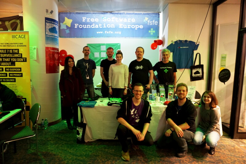 The FSFE's booth team at the FSFE assembly during 33rd Chaos Communication Camp.