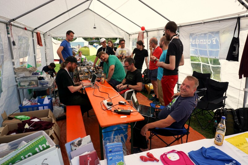 Freedombox install fest in the FSFE assembly during SHA Camp 2017.