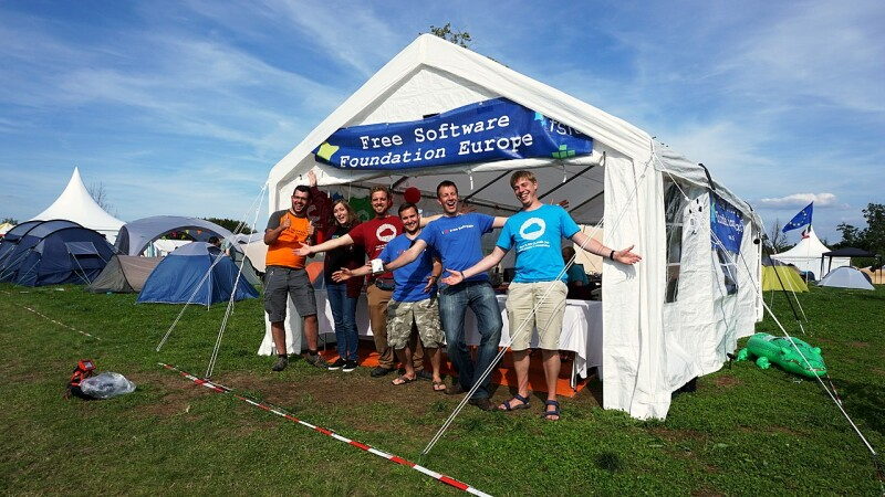 The FSFE village during SHA Camp 2017 in the Netherlands.