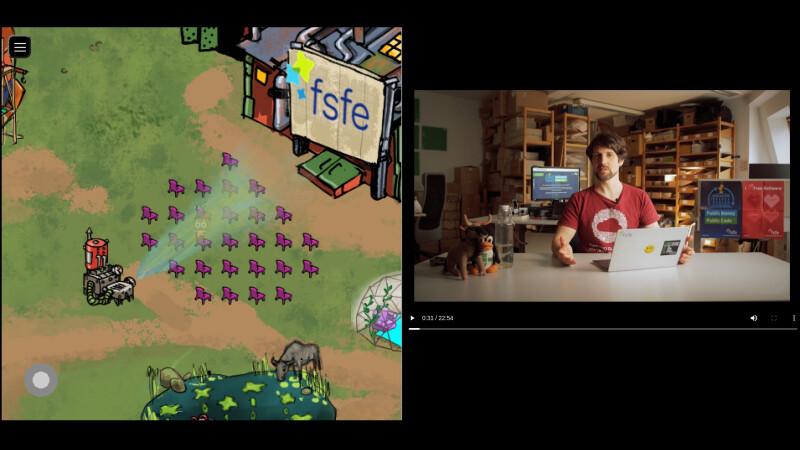 Bioscoop in de Open Infrastructure Orbit tijdens RC3, waarin een FSFE-video wordt getoond