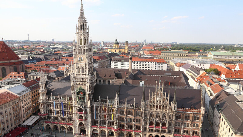 Aerial view of the town hall in Munich.
