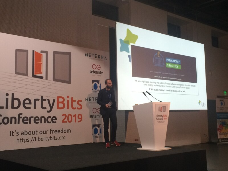 Alexander Sander talks about PMPC at the Libertybits event in Sofia, Bulgaria
