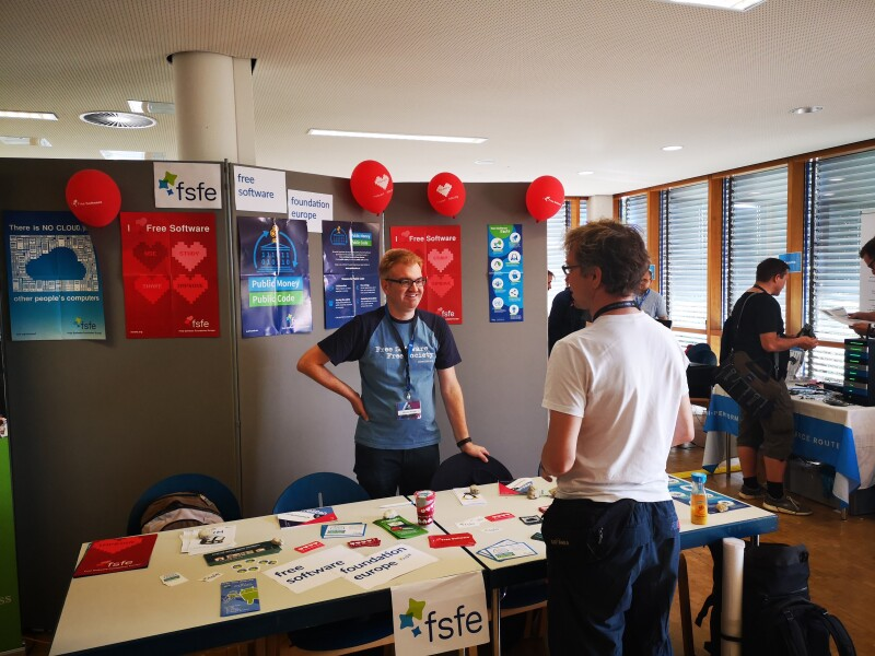 The FSFE stand at FrOSCon in Bonn
