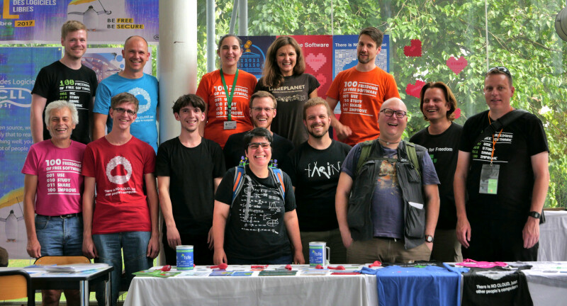 FSFE's booth team and friends at RMLL 2018 in Strasbourg.