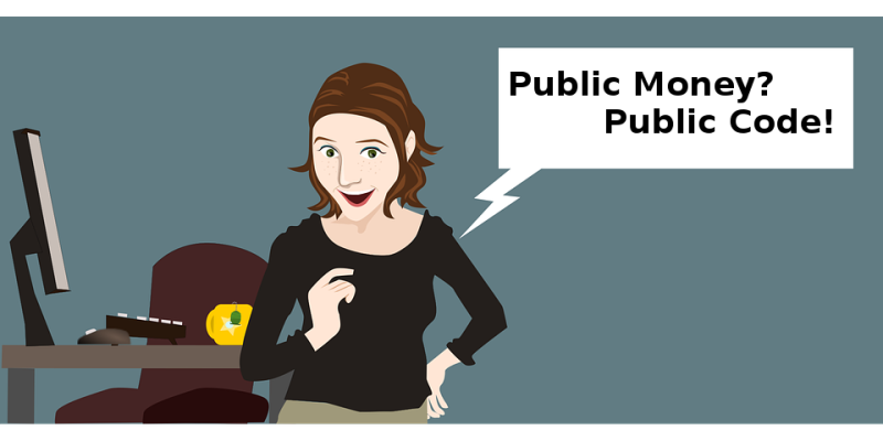 "Una donna che chiede ""Public Money? Public Code!"""